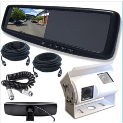 4.3 LCD Rearview Mirror Monitor with Dual Twin View CCD Cameras and Cables Fit