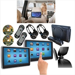 "2 x 10.1"" Slim Touch Screen Car Headrest DVD Player HD Game TFT Screen HDMI Monitor"
