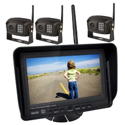 "2.4GHz HD Wireless 7"" Monitor 3 CCD Camera Reverse Rear View Kit Car Truck   Horse Float"