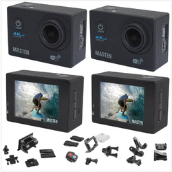 2 x Ultra HD 4K 1080p WIFI Waterproof Sports Action Video Camera Fit Mount Masten