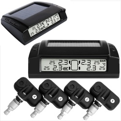 Solar Tyre Pressure Monitoring System LCD TPMS 4 Internal Sensors Car 4x4 PSI Diagnostic Tools Bar
