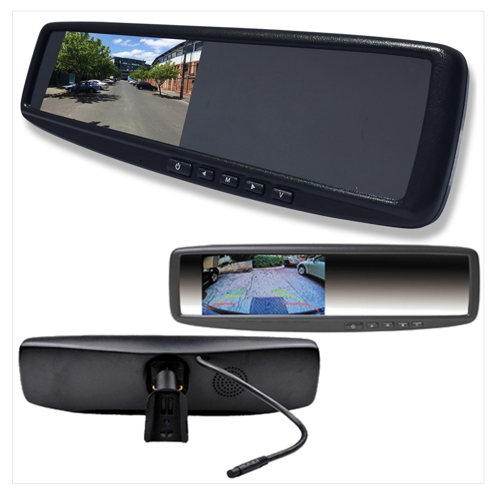 4 3 lcd rear view mirror monitor with 2inputs vehicle. Black Bedroom Furniture Sets. Home Design Ideas