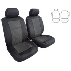 Tailor Made Custom Seat Covers Airbag Safe Waterproof Outback Poly Canvas Charcoal for Toyota Hiace Van Lwb 03/2005-On