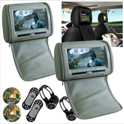 2 x Beige 9 Headrest Car Monitor HD Digital DVD Player with 2Headphones Screen