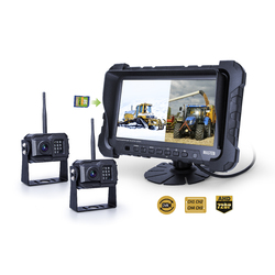 "2.4GHz AHD 720P Wireless Camera x2 System 7"" Quad-View Monitor Kit Car Truck Digital Horse Float"