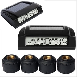 Solar Power TPMS Tyre Pressure Monitoring System LCD 4 External Sensors 4x4 PSI Diagnostic Tools