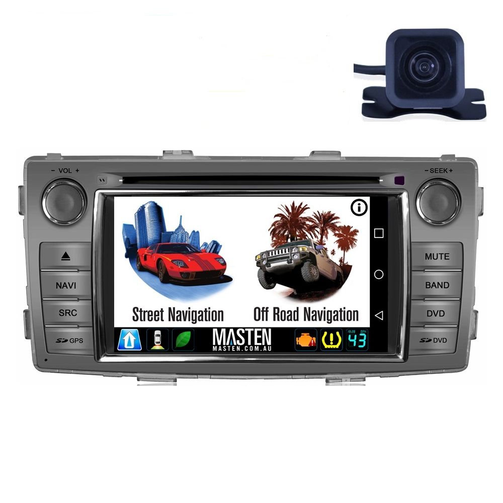 Android GPS Nav Bluetooth Car Player Navigation Radio Stereo DVD INC CAM For Toyota Hilux 2014 2015+