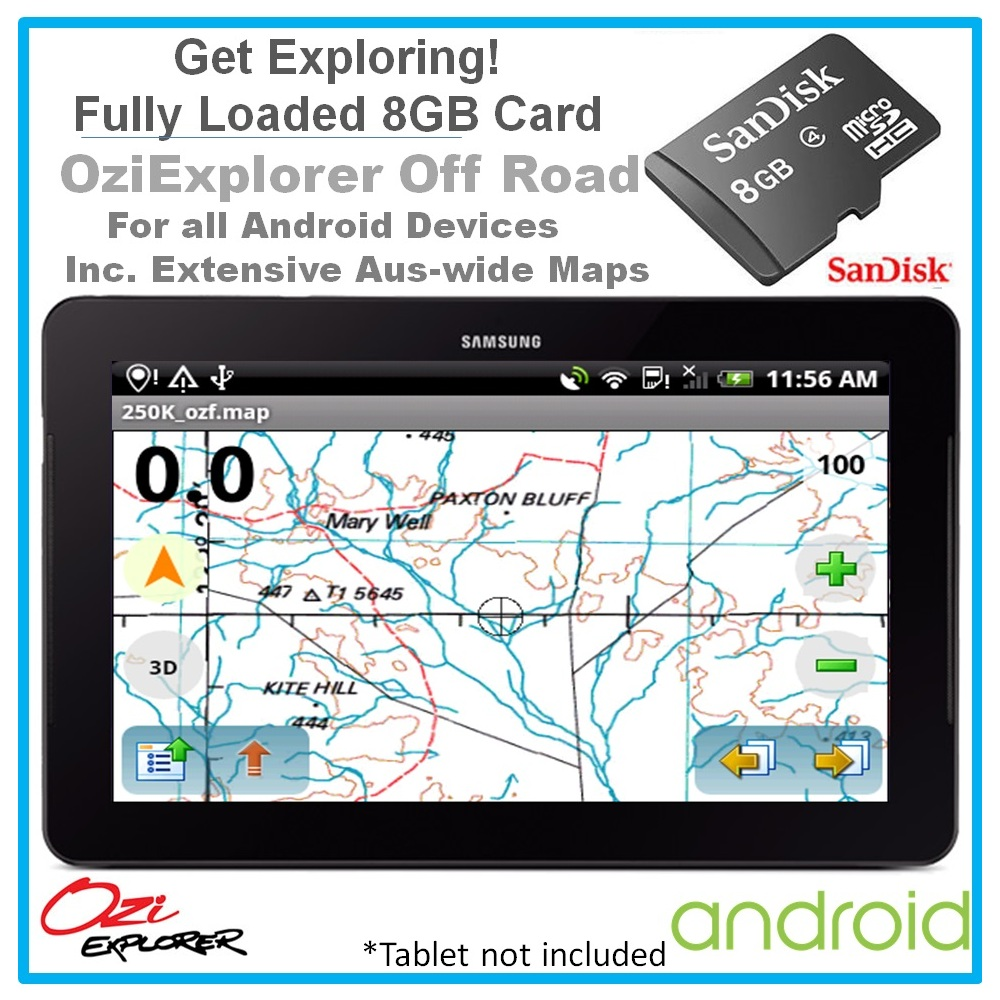 Android Detailed Australia-wide Topographic Digital Maps & OziExplorer on 8GB Card